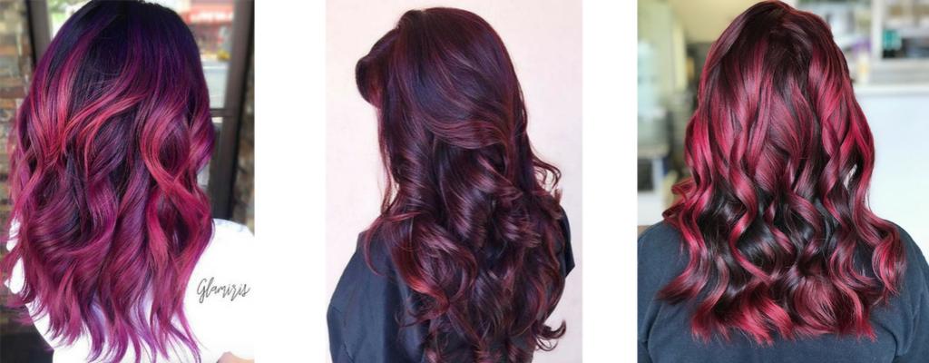 Włosy w kolorze burgundowym